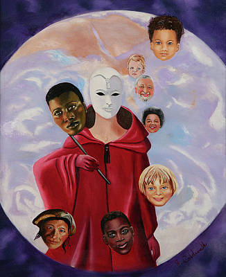 Unity Painting - Many Masks Of God by Joyce Small