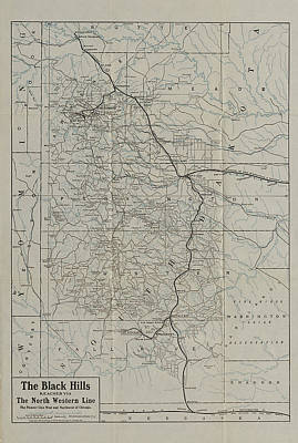 Route Map From 1908 Black Hills Tour Guide Art Print by Chicago and North Western Historical Society