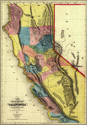 Photograph - Map Of California 1851 by Andrew Fare