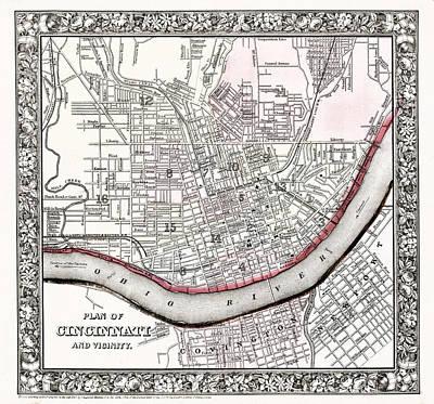 Photograph - Map Of Cincinnati Ohio 1864 by Mountain Dreams