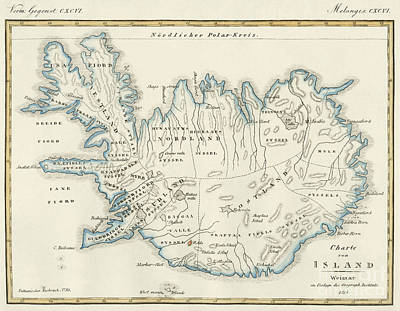 Plan View Drawing - Map Of Iceland  by German School