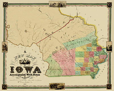 Photograph - Map Of Iowa 1845 by Andrew Fare