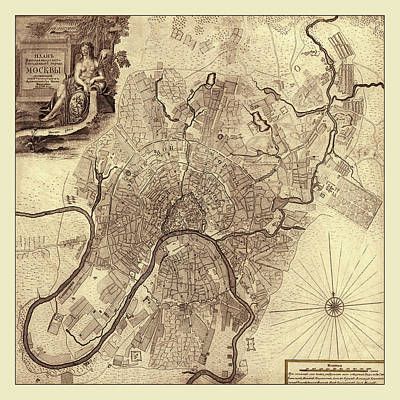 Photograph - Map Of Moscow 1739 by Andrew Fare