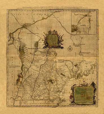 Photograph - Map Of New Hampshire 1784 by Andrew Fare