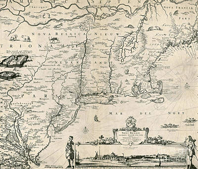 Map Of New Netherland, 1650s Art Print