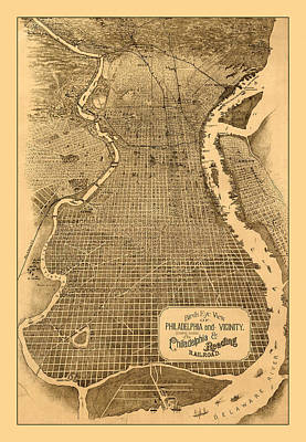 Photograph - Map Of Philadelphia 1870 by Andrew Fare