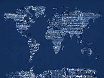 Old Map Digital Art - Map Of The World Map From Old Sheet Music by Michael Tompsett