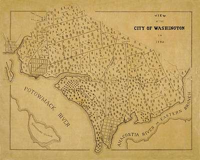 Photograph - Map Of Washington 1792b by Andrew Fare