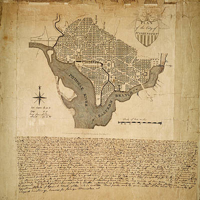 Photograph - Map Of Washington 1793 by Andrew Fare