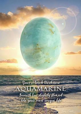 Digital Art - March Birthstone Aquamarine by Evie Cook