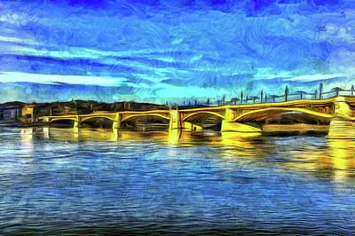 Photograph - Margaret Bridge Budapest Van Gogh by David Pyatt