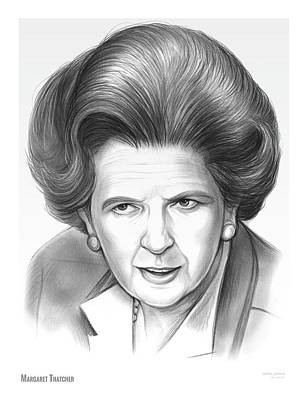 Pencil Sketch Drawing - Margaret Thatcher by Greg Joens