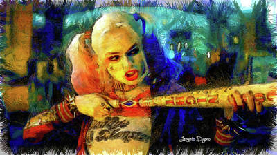 Robbies Painting - Margot Robbie Playing Harley Quinn - Pencil Style by Leonardo Digenio