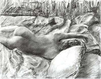 Nude Maria In The Sheets Art Print by Randy Sprout