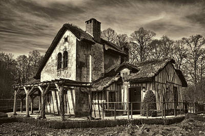 Sepia Vintage Farmhouse Photograph - Marie Antoinette Cottage In Versailles by David Smith