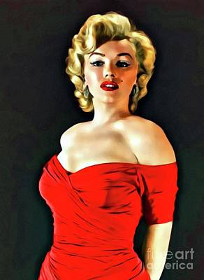 Actors Royalty-Free and Rights-Managed Images - Marilyn Monroe, Digital Art by Mary Bassett by Mary Bassett