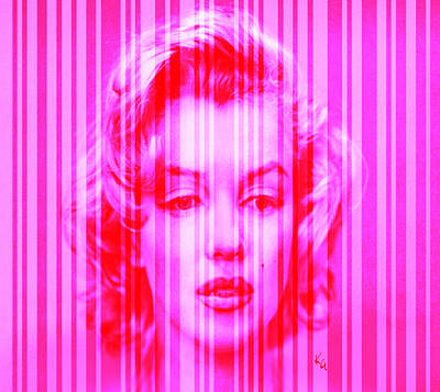 Digital Art - Marilyn Monroe In Pink Stripes by Kim Gauge
