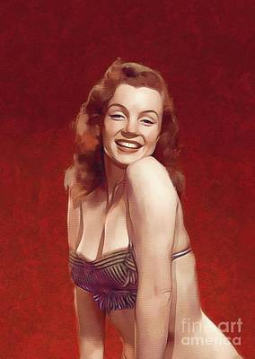 Actors Paintings - Marilyn Monroe, Pinup and Actress by Mary Bassett