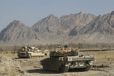 Battle Tank Photograph - Marines Conduct Combat Operations by Stocktrek Images