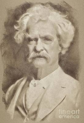 Book Mark Drawing - Mark Twain, Literary Legend by John Springfield
