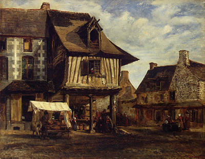 Streetscape Painting - Market-place In Normandy by Theodore Rousseau