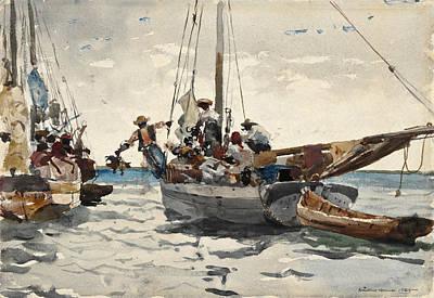 Winslow Homer Drawing - Market Scene. Nassau by Winslow Homer