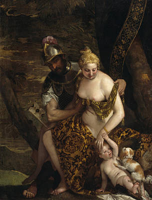 Puppy Painting - Mars, Venus And Cupid by Paolo Veronese