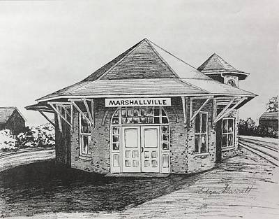 Drawing - Marshallville Depot by Edna Garrett