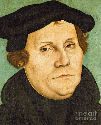 Theologians Painting - Martin Luther by Lucas the elder Cranach