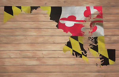 Mixed Media - Maryland Rustic Map On Wood by Dan Sproul