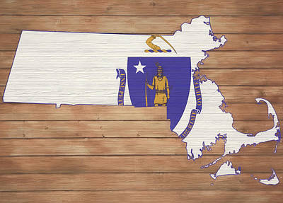 Mixed Media - Massachusetts Rustic Map On Wood by Dan Sproul