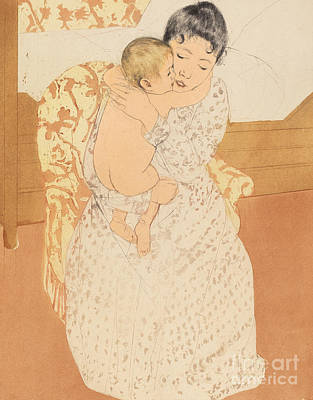 Woman And Baby Painting - Maternal Caress by Mary Stevenson Cassatt
