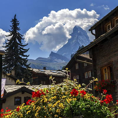 Photograph - Matterhorn And Zermatt Village Houses, Switzerland by Elenarts - Elena Duvernay photo