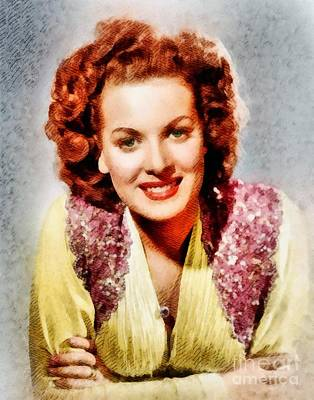 Maureen Painting - Maureen O'hara, Vintage Hollywood Actress by John Springfield
