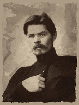 Author Painting - Maxim Gorky by Afterdarkness