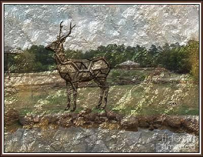 Statue Portrait Digital Art - Meadow Of Metal Deer 6 by Pemaro