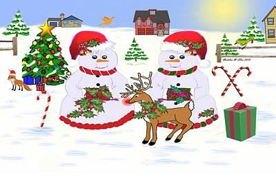 Candy Digital Art - Meadow Snowmen - Deck The Boughs by Madeline  Allen - SmudgeArt