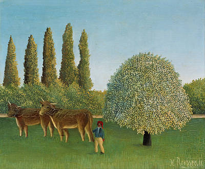 Naive Art Painting - Meadowland, The Pasture by Henri Rousseau
