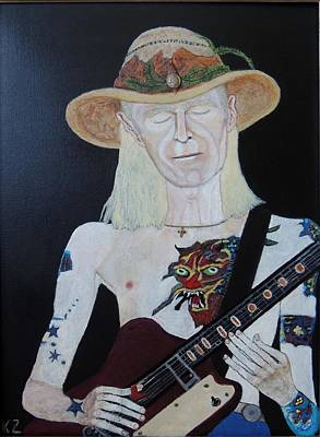 Painting - Mean Town Blues.johnny Winter. by Ken Zabel