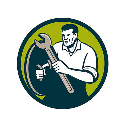 Mechanic Brandishing Spanner Wrench Circle Retro Print by Aloysius Patrimonio