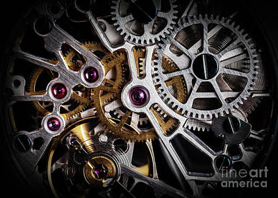 Mechanism, Clockwork Of A Watch With Jewels, Close-up. Vintage Luxury Art Print