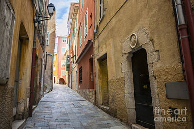Red Photograph - Medieval Street In Villefranche-sur-mer by Elena Elisseeva