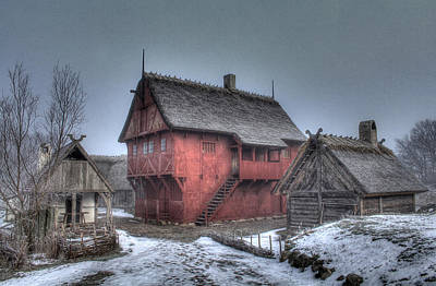 Ice Photograph - Medieval Village - Houses by Jan Boesen