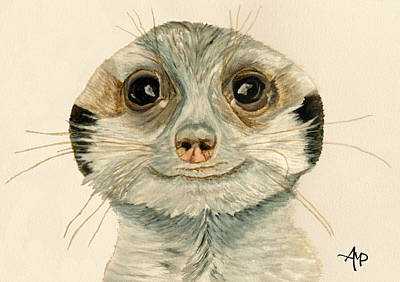 Meerkat Painting - Meerkat Watercolor by Angeles M Pomata