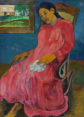 Woman In Rocking Chair Painting - Melancholic by Paul Gauguin