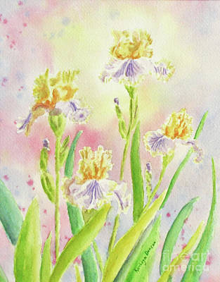 Garden Painting - Mellow Yellow Irises by Kathryn Duncan