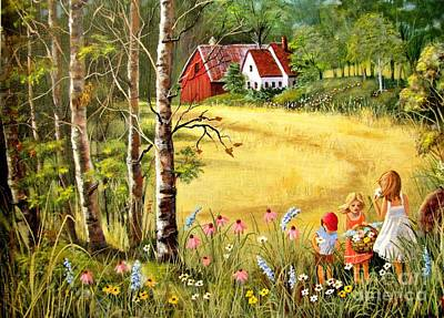 Farm Scene Painting - Memories For Mom by Marilyn Smith