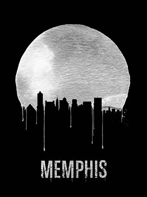 Memphis Skyline Black Art Print by Naxart Studio