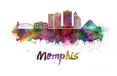 Memphis Skyline In Watercolor Print by Pablo Romero