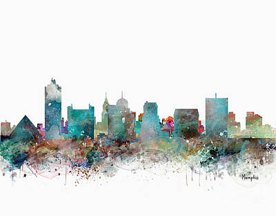 Painting - Memphis Tennessee Skyline  by Bri B